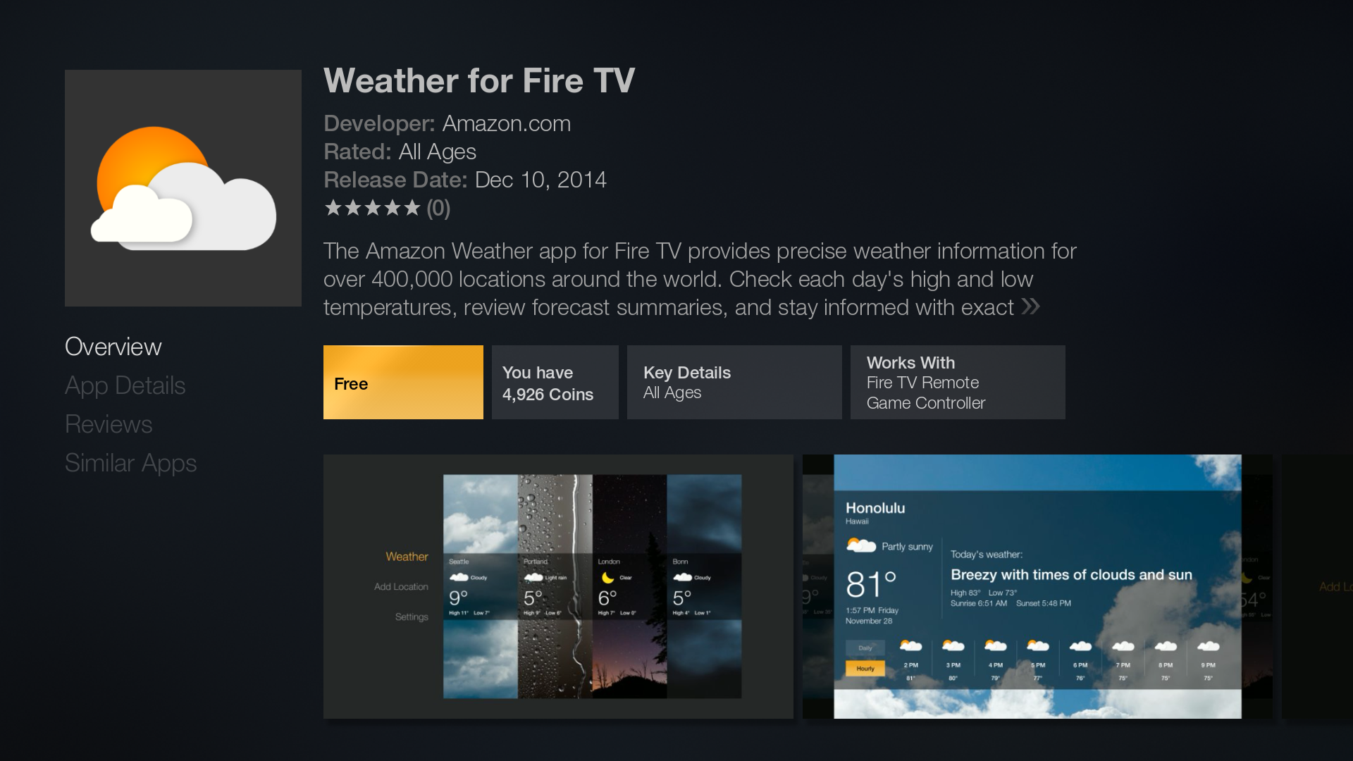 Amazon releases Official Weather App for the Fire TV and Fire TV Stick  #C0810B 1920 1080