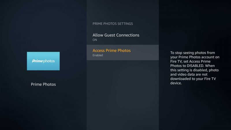 Prime Photos app on the Amazon Fire TV can now be disabled